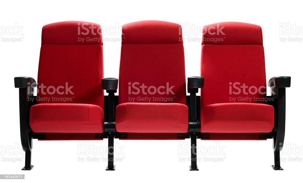 Three Theater Seats, Isolated stock photo