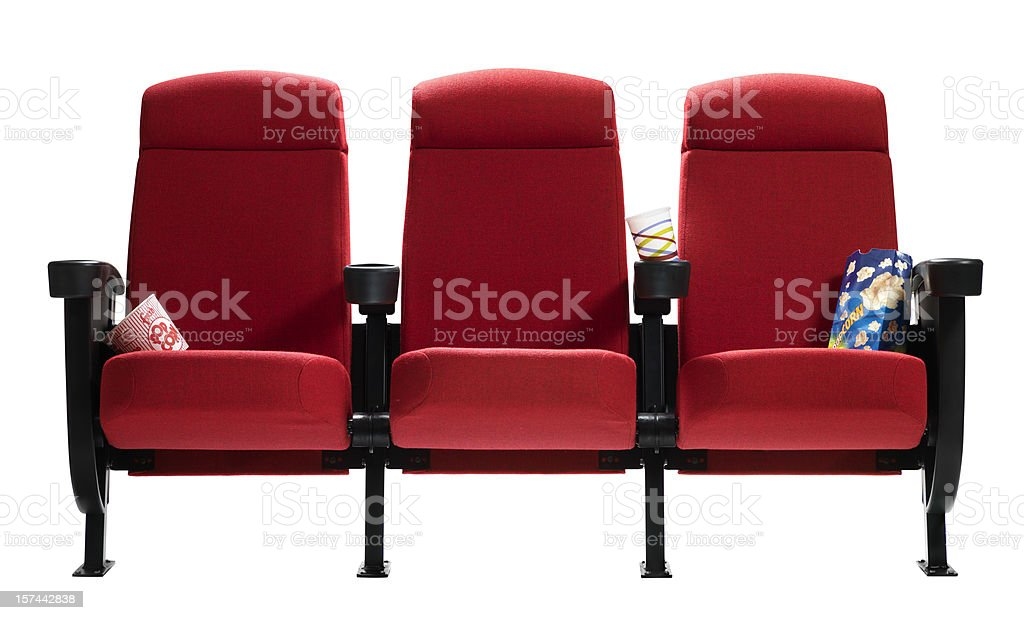 Three Theater Seats with popcorn bags, Isolated stock photo