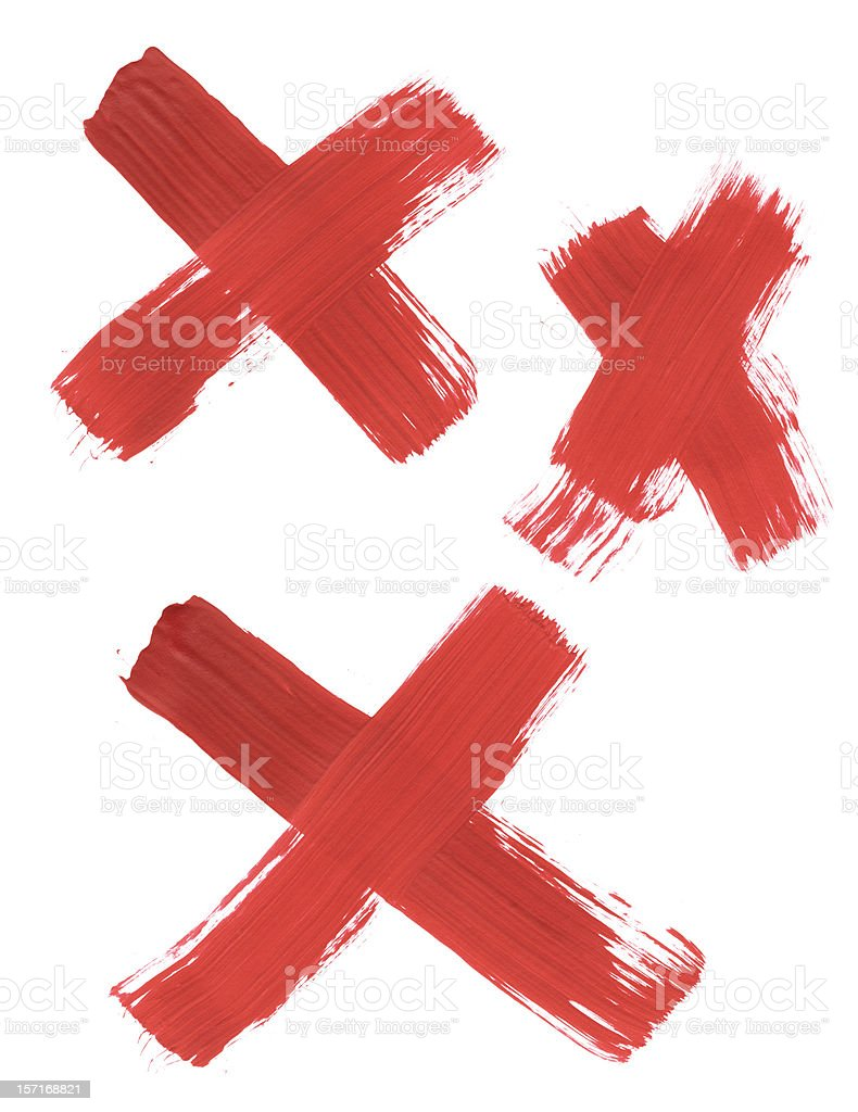 Three Thickly Painted Red Exes stock photo