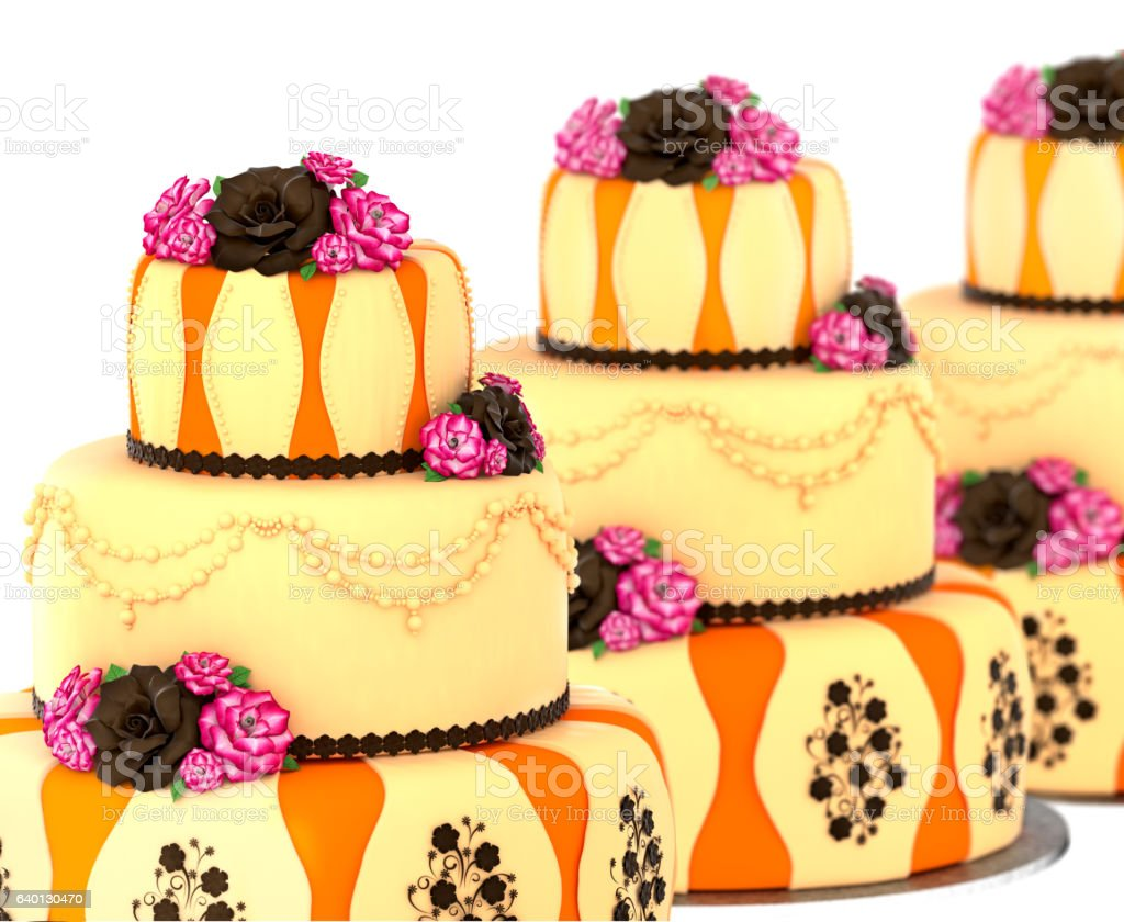 Three tier cake with 3 layer decorated chocolate rose and flowers....