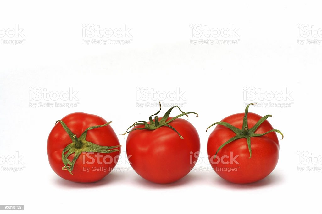 Three Tomatoes Isolated on White royalty-free stock photo