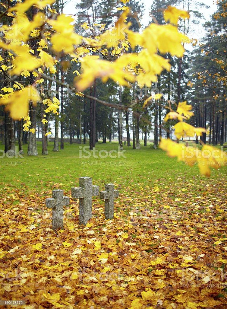 Three tombstone crosses. royalty-free stock photo