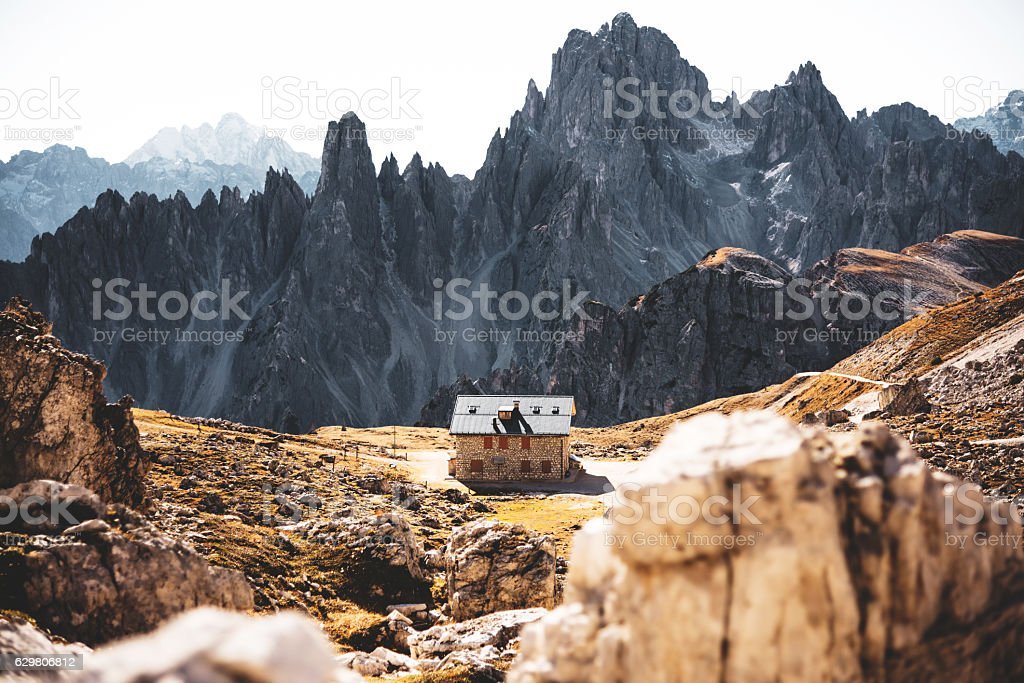tre cime di lavaredo alps mountain landscape stock photo