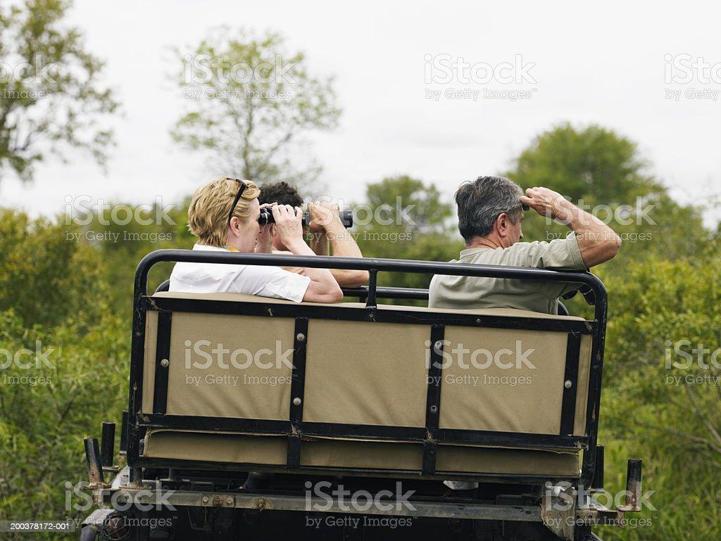 Three tourists on safari sitting in 4x4 using binoculars royalty-free stock photo