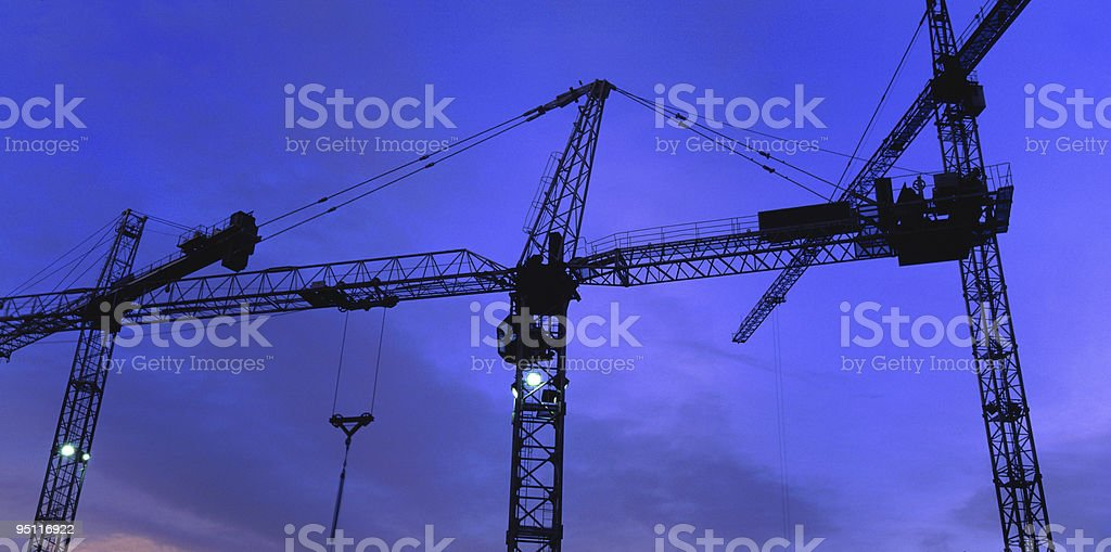Three Tower Cranes royalty-free stock photo