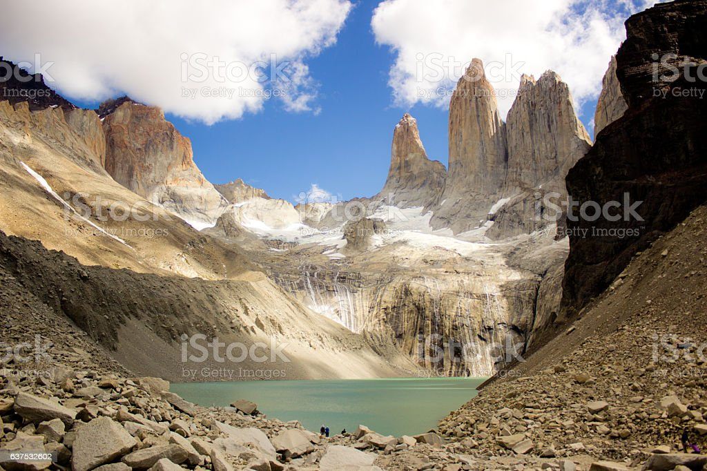 Three towers in Torres del Paine stock photo