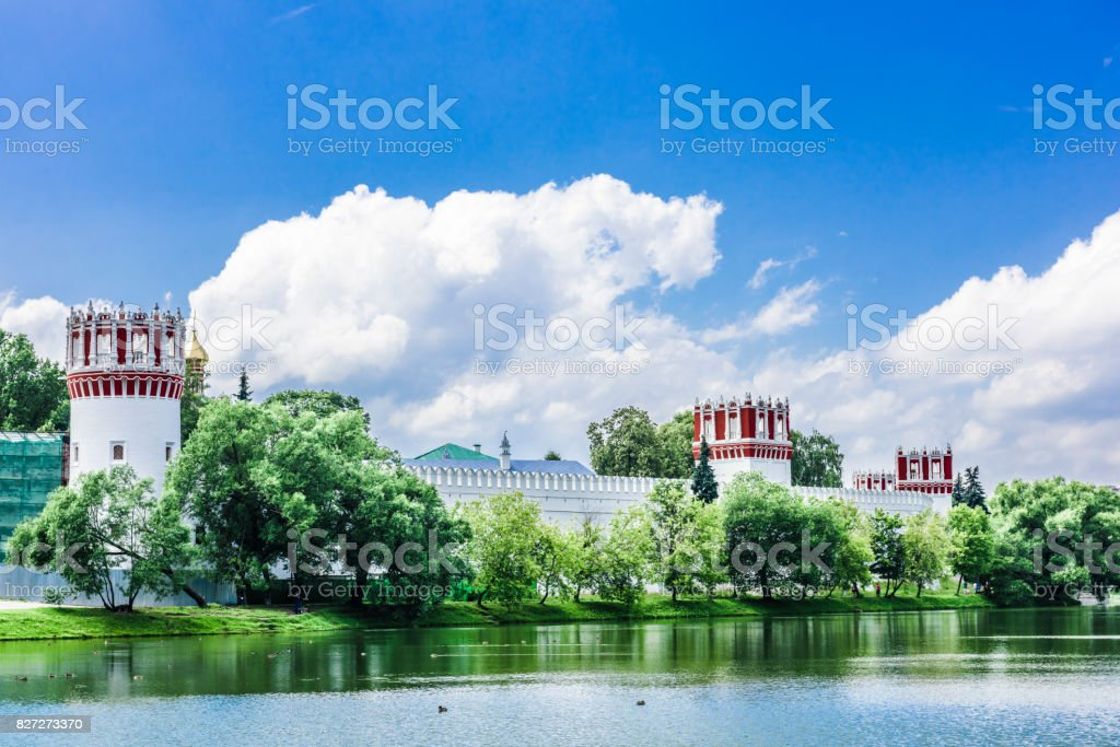 Three towers of the ancient monastery stock photo