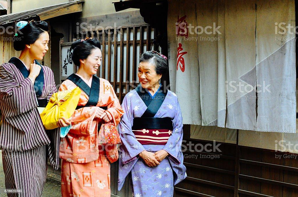 Three traditional Japanese women in japanese village stock photo