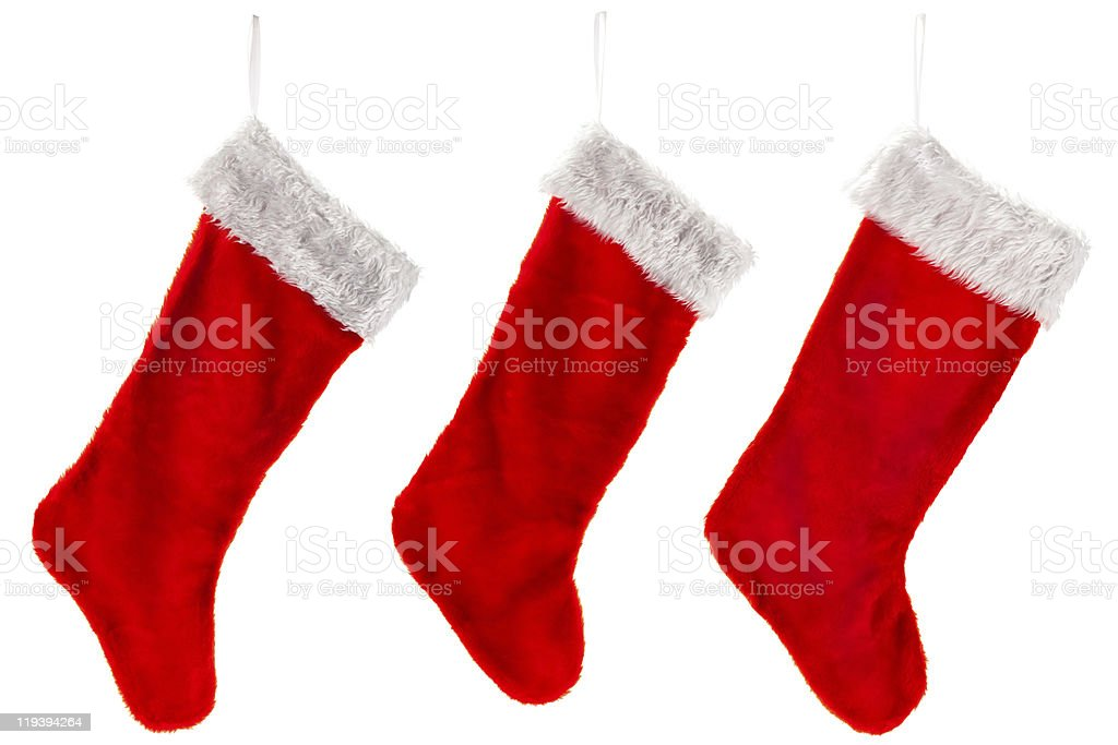 Three traditional red Christmas Stocking stock photo
