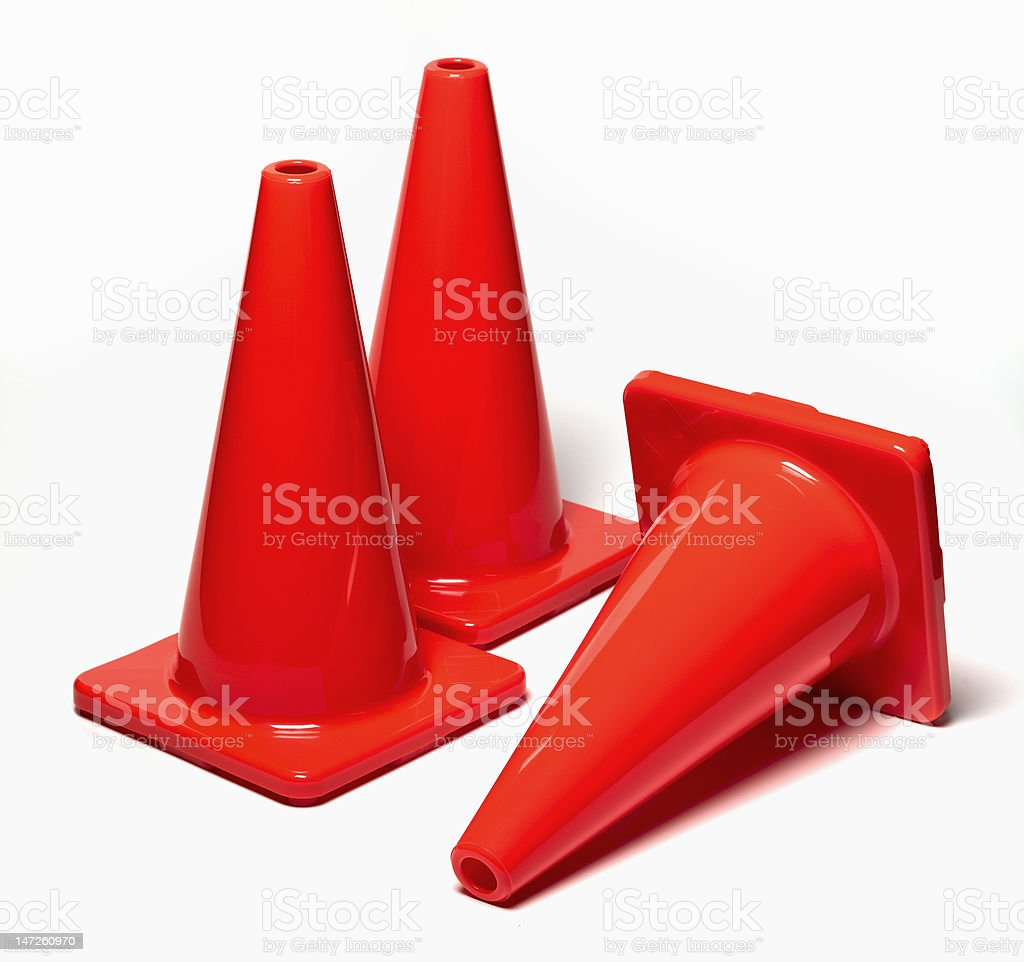 Three Traffic Cones royalty-free stock photo
