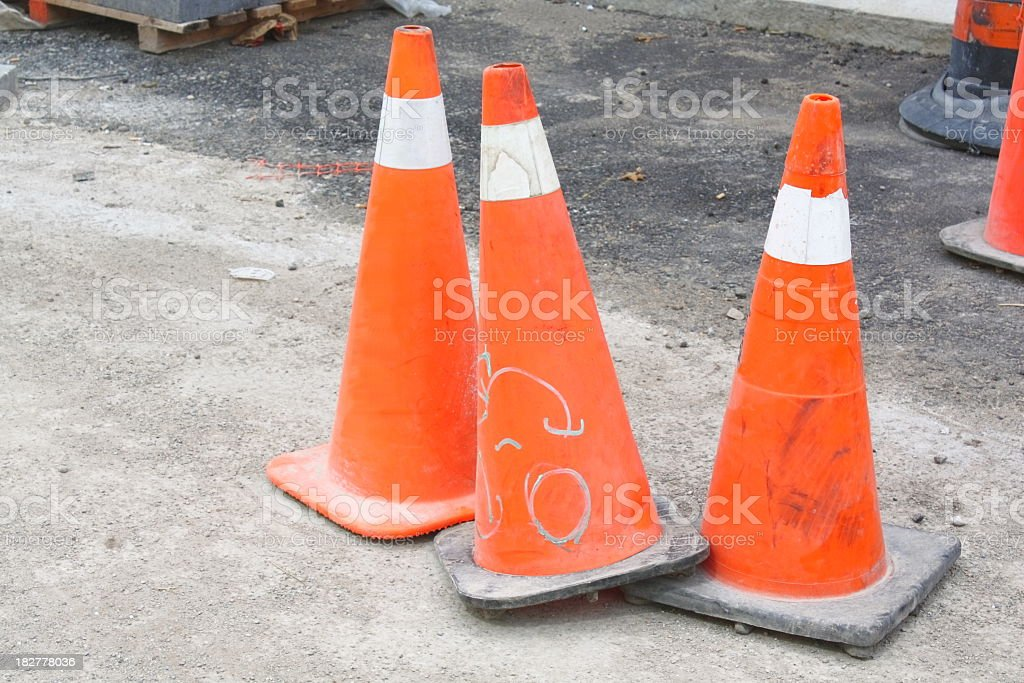 Three Traffic Cones stock photo