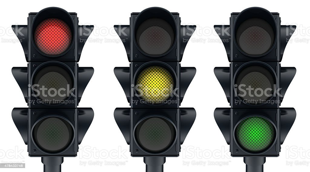 Three traffic lights stock photo