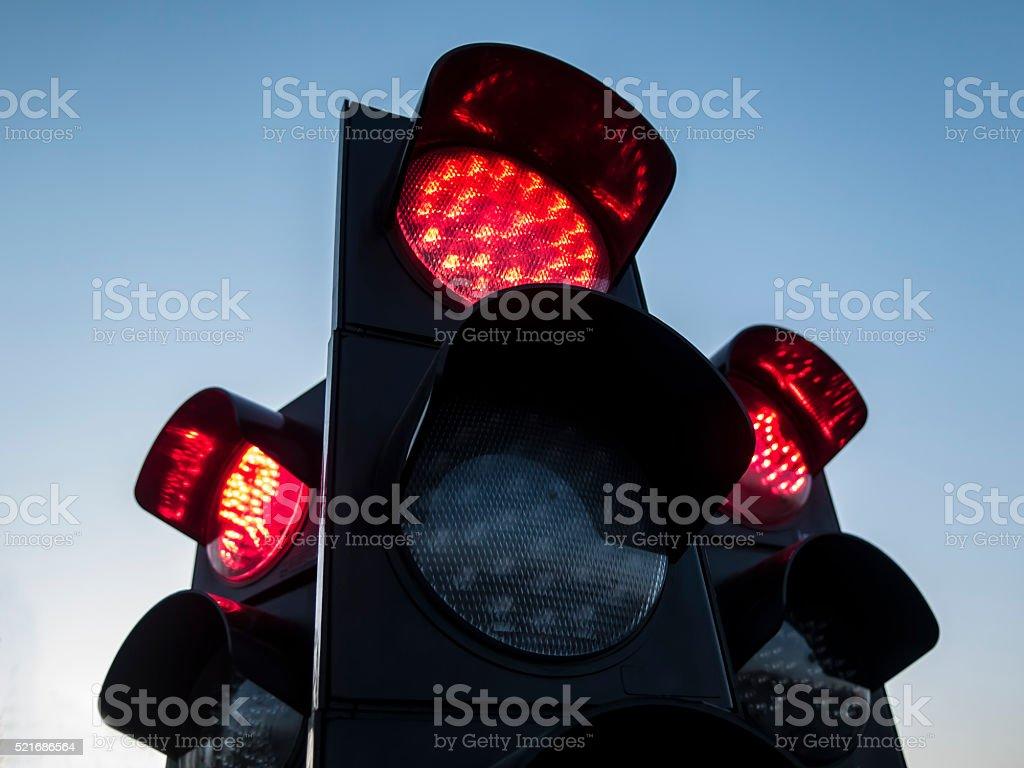 Three traffic lights stock photo