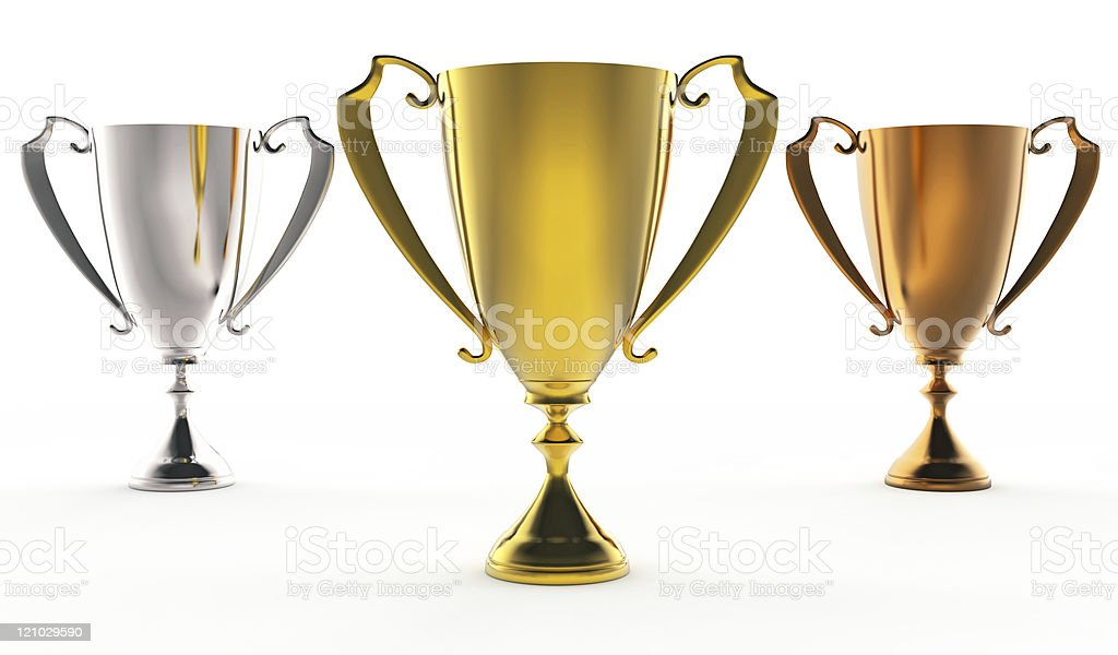 three trophies royalty-free stock photo