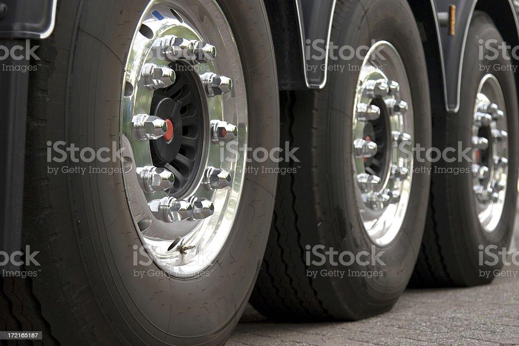 Three truck tires stock photo