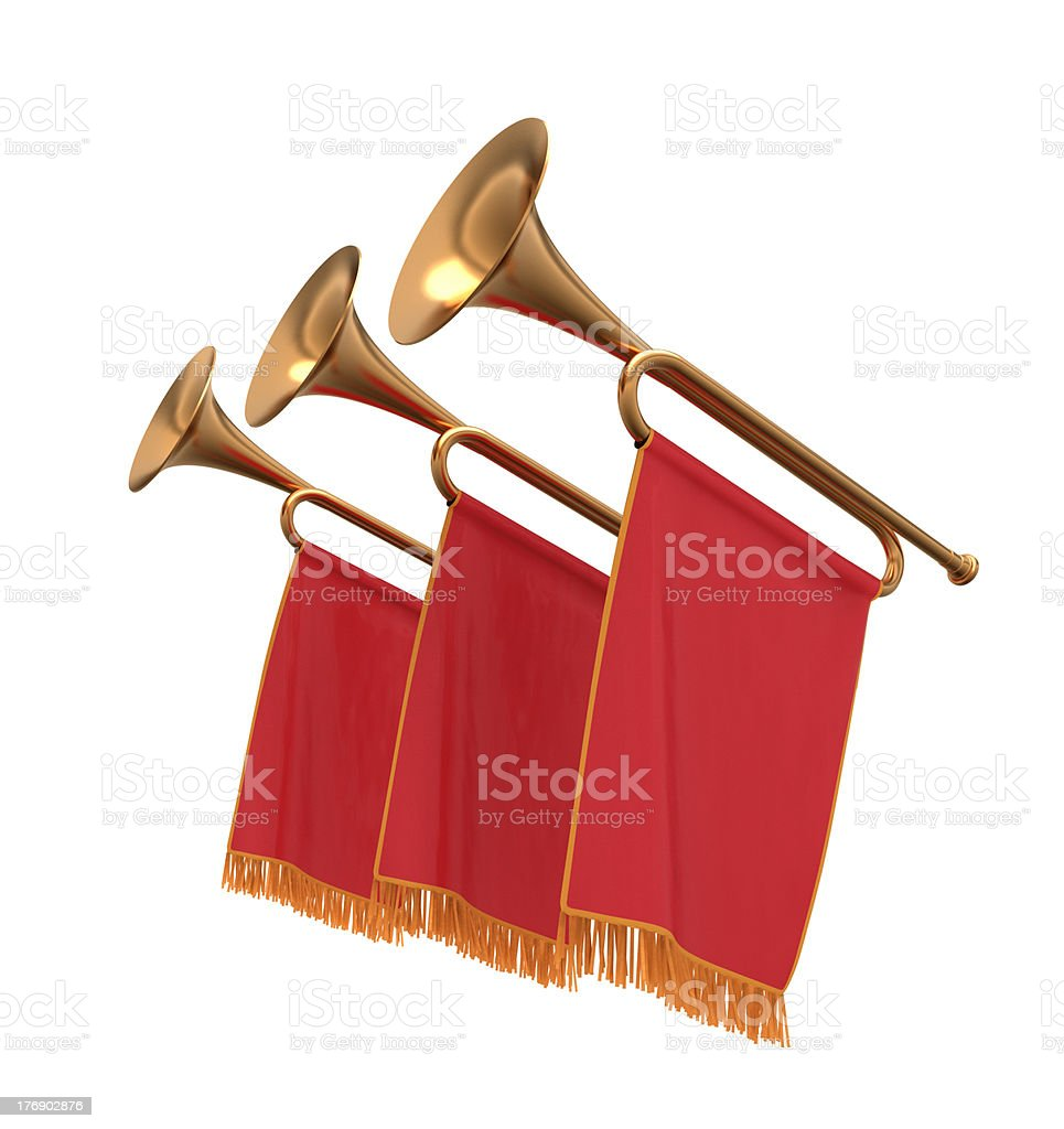 Three trumpets with a red banners. stock photo