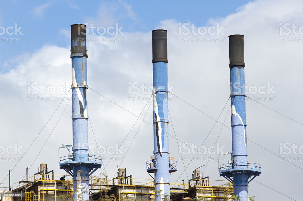 Three tube blue color. Group of colored tubes stock photo