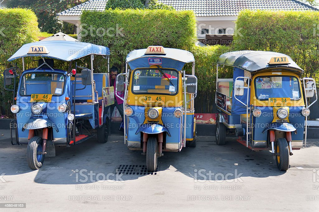 Three Tuk Tuk's In Hua Hin, Thailand royalty-free stock photo