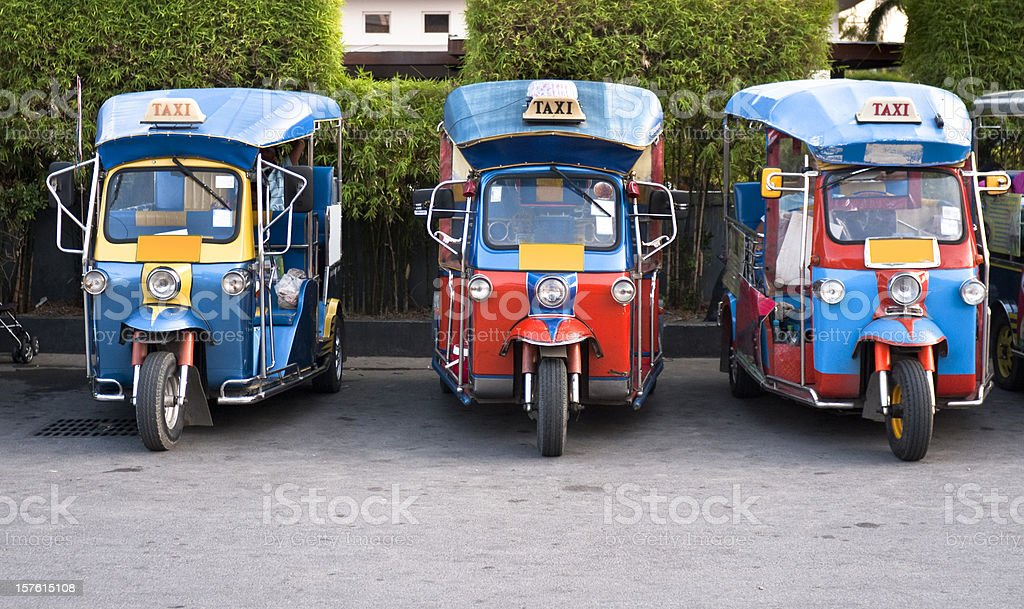 Three Tuk-Tuks (Motorised Rickshaws) In Hua Hin, Thailand stock photo