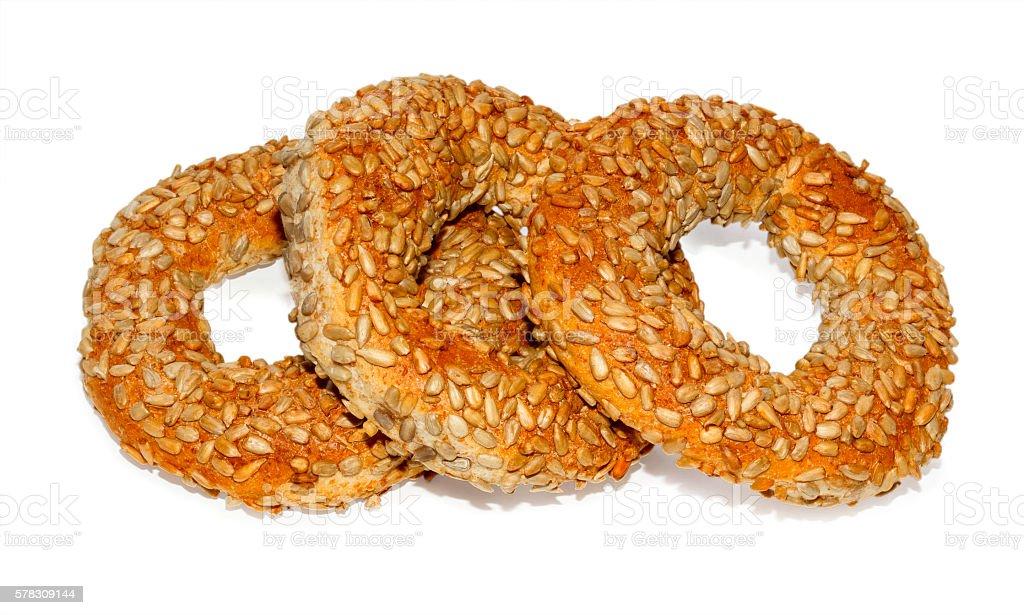 Three Turkish bagels stock photo