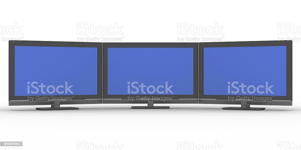 Three TV on white background. Isolated 3D image royalty-free stock photo