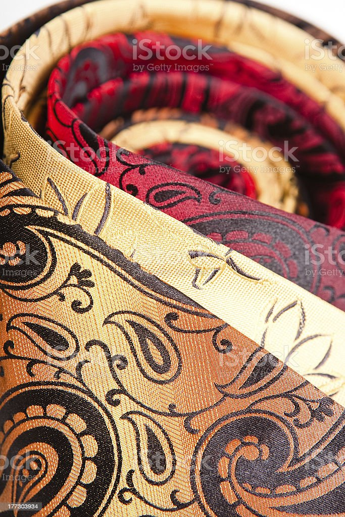 three twisted necktie close-up royalty-free stock photo