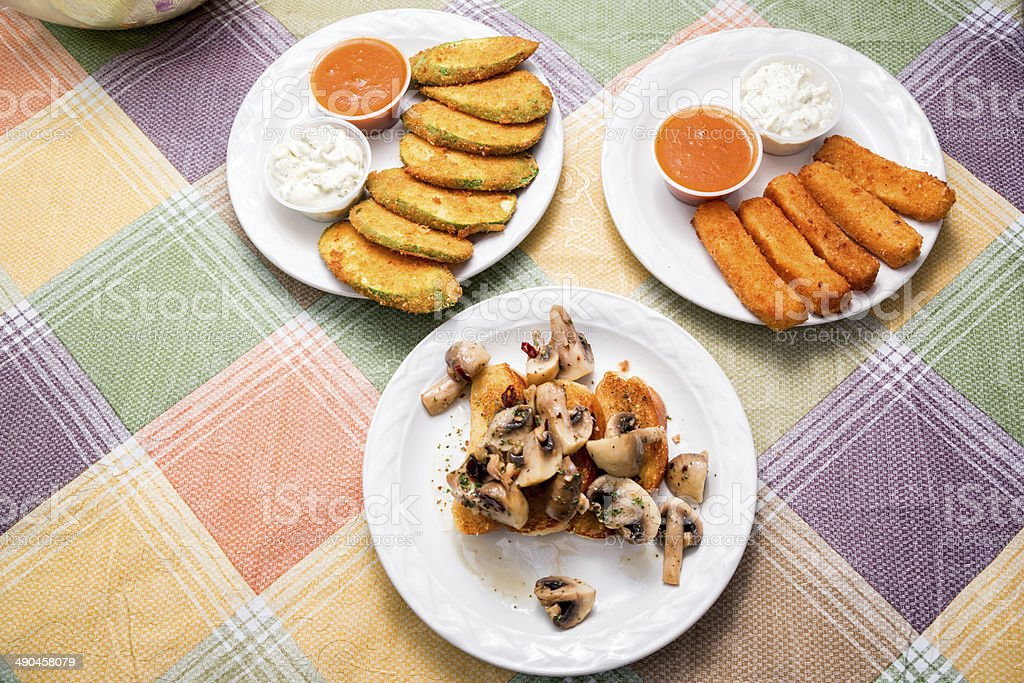 Three Types of Appetizer stock photo
