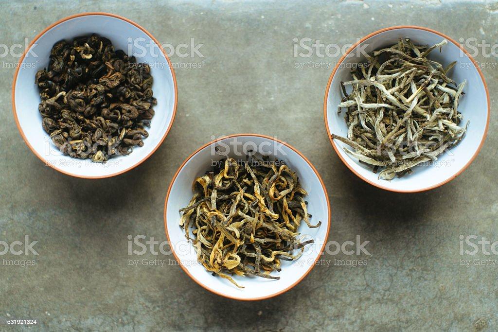 Three types of organic tea stock photo