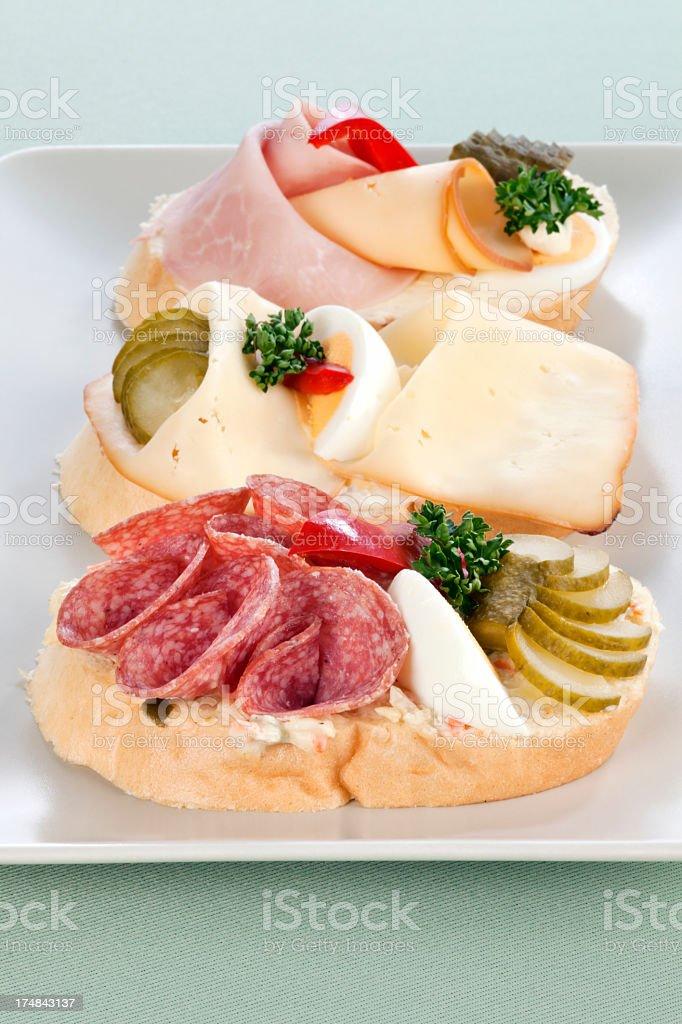 Three types of sandwiches royalty-free stock photo