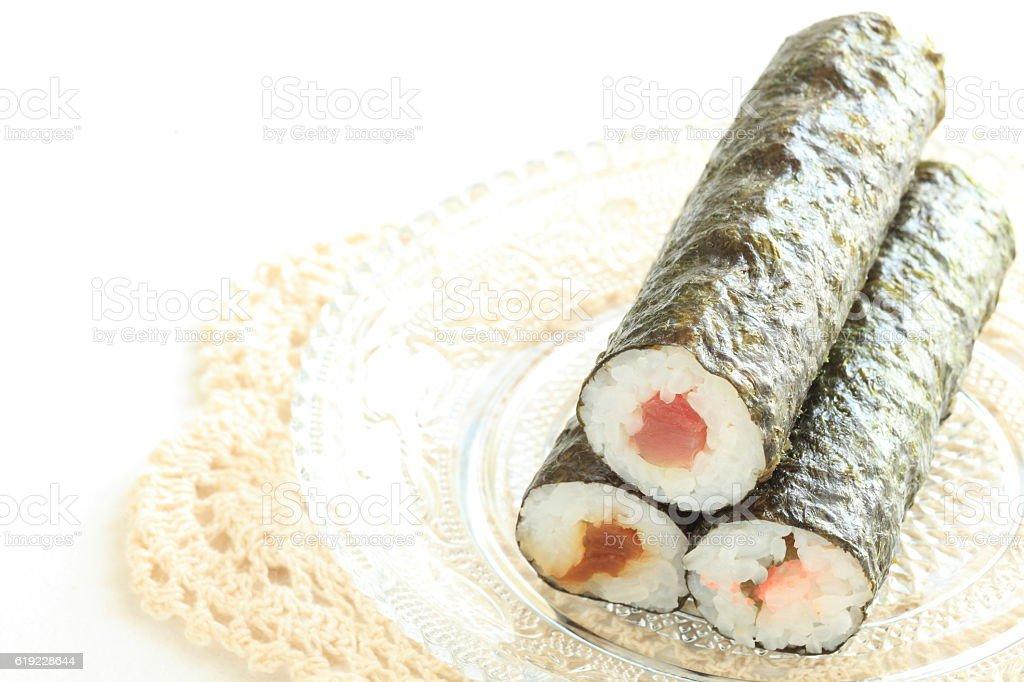 three types of sushi roll stock photo