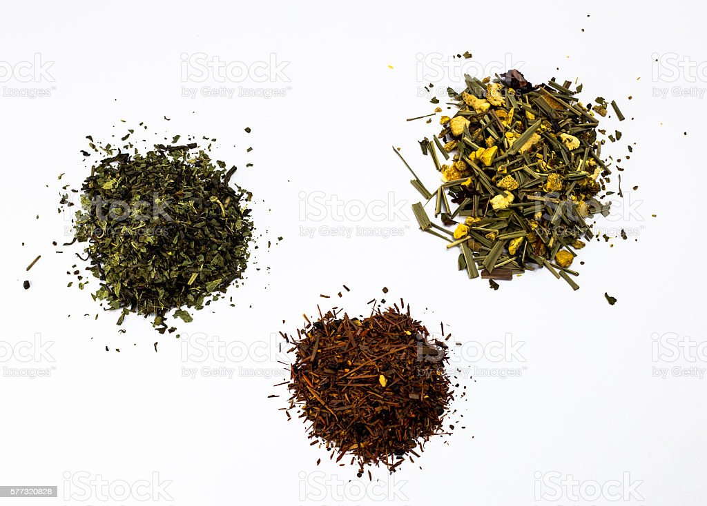 Three types of tea - Green tea, Rooibos tea and Ginger tea stock photo