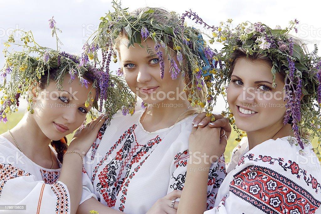 Three Ukrainian beauties royalty-free stock photo