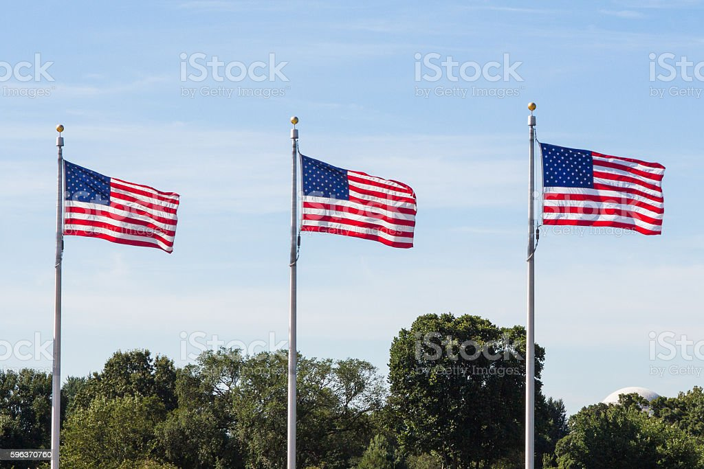 Three U.S. Flags are Flying stock photo