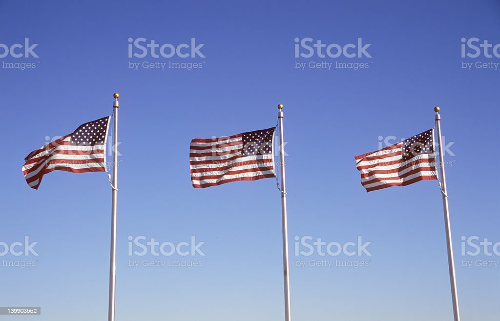 Three US Flags stock photo