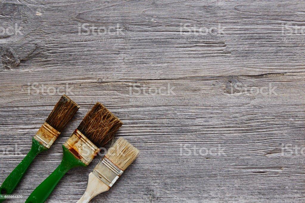 three used paintbrushes frame workshop atmosphere stock photo