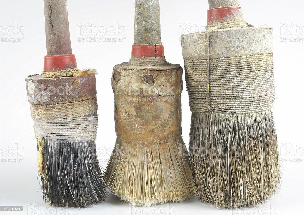 three used round brushes royalty-free stock photo