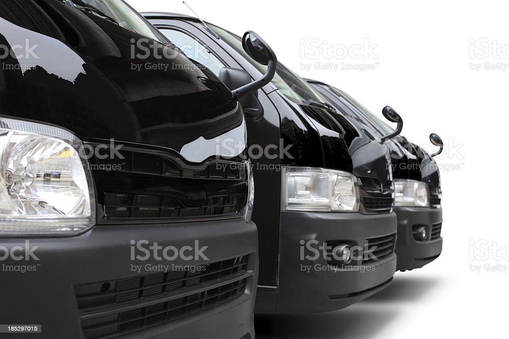 Three Vans royalty-free stock photo