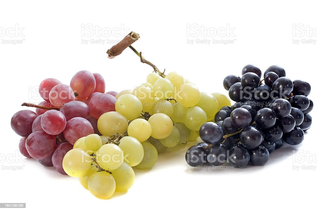 three varieties of grapes stock photo