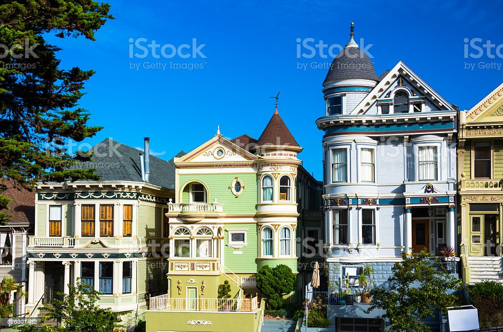 Three Victorian Houses in Alamo Square, San Francisco stock photo