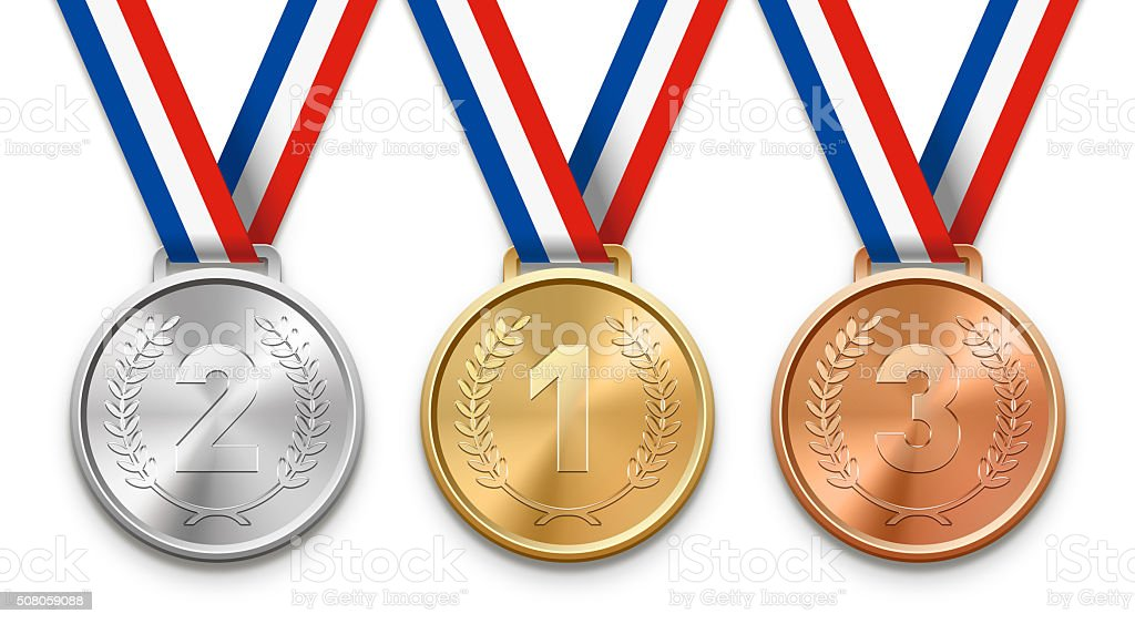 Three Victory Medals stock photo