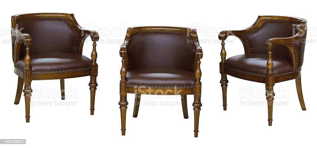 Three vintage chairs isolated on white royalty-free stock photo