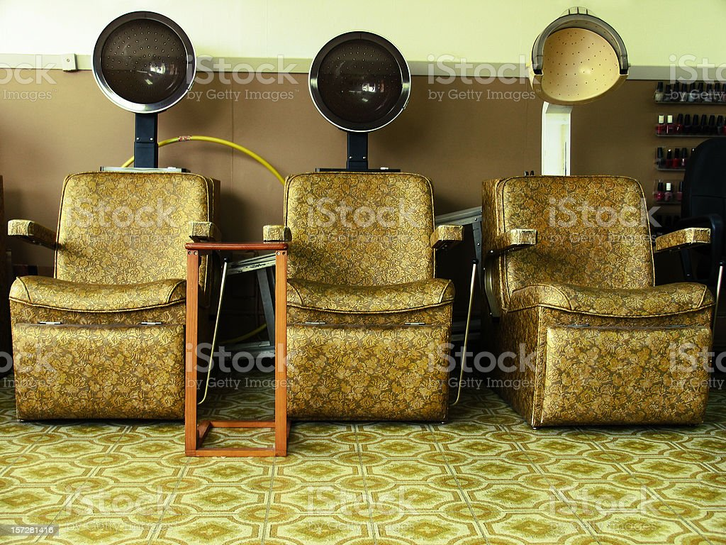 Three Vintage Hair Dryers royalty-free stock photo