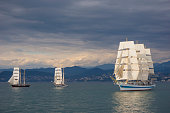 Three vintage sailing ships in the sea