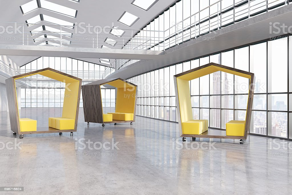 Three waiting spaces stock photo