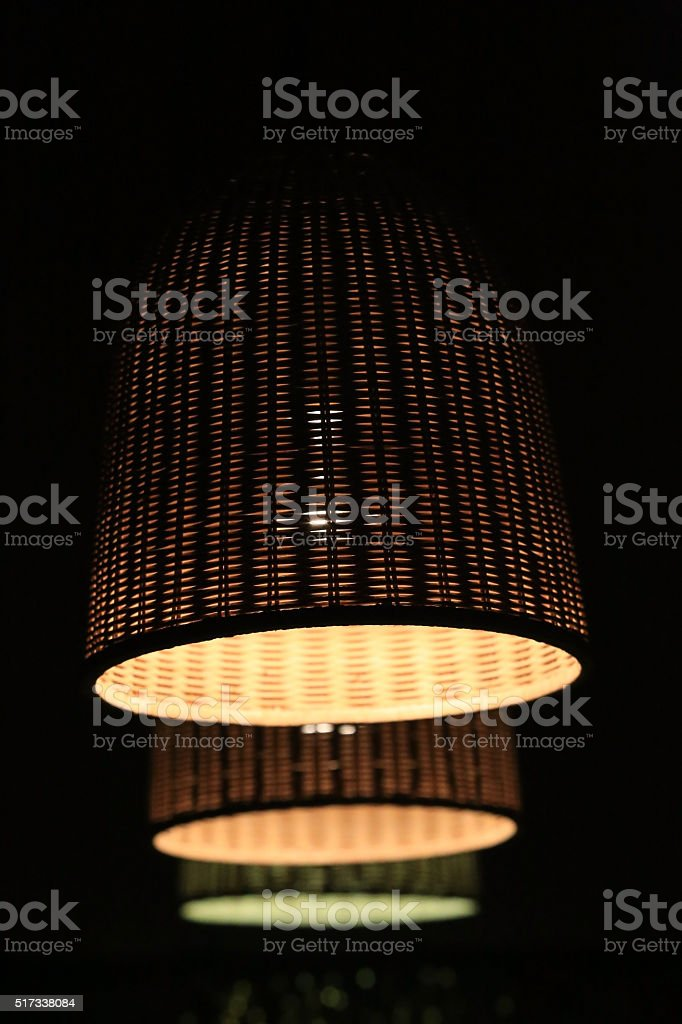 three wattled lamp shades stock photo