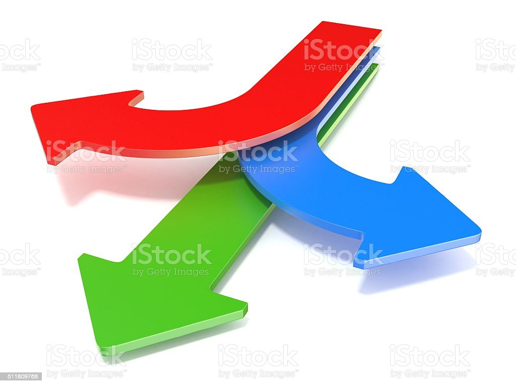Three way arrows, showing three different directions stock photo