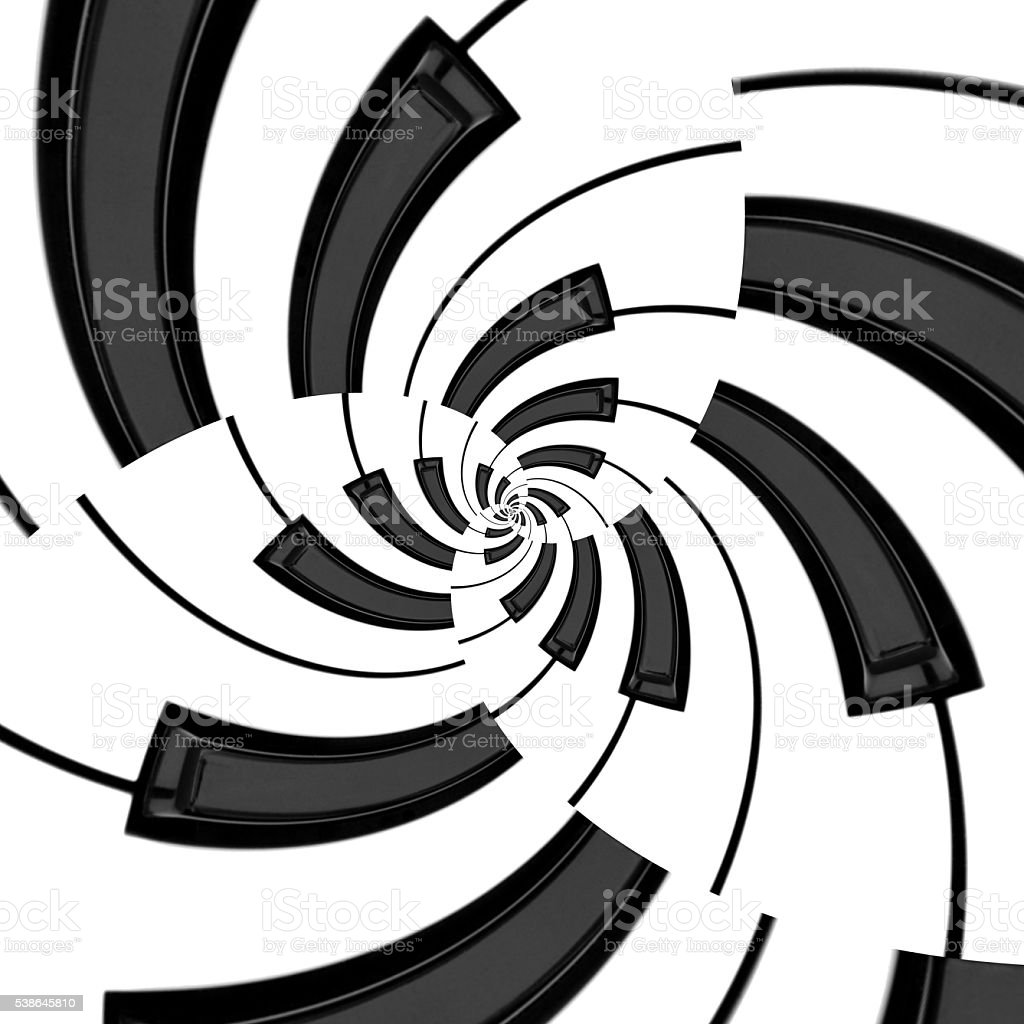 Three Way Offset Keyboard Spiral stock photo