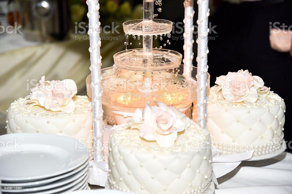 Three Wedding Cake with Fountain stock photo