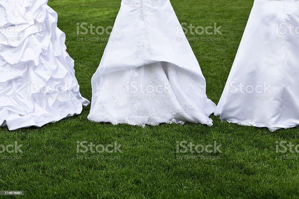 Three Wedding Gown Bustles stock photo