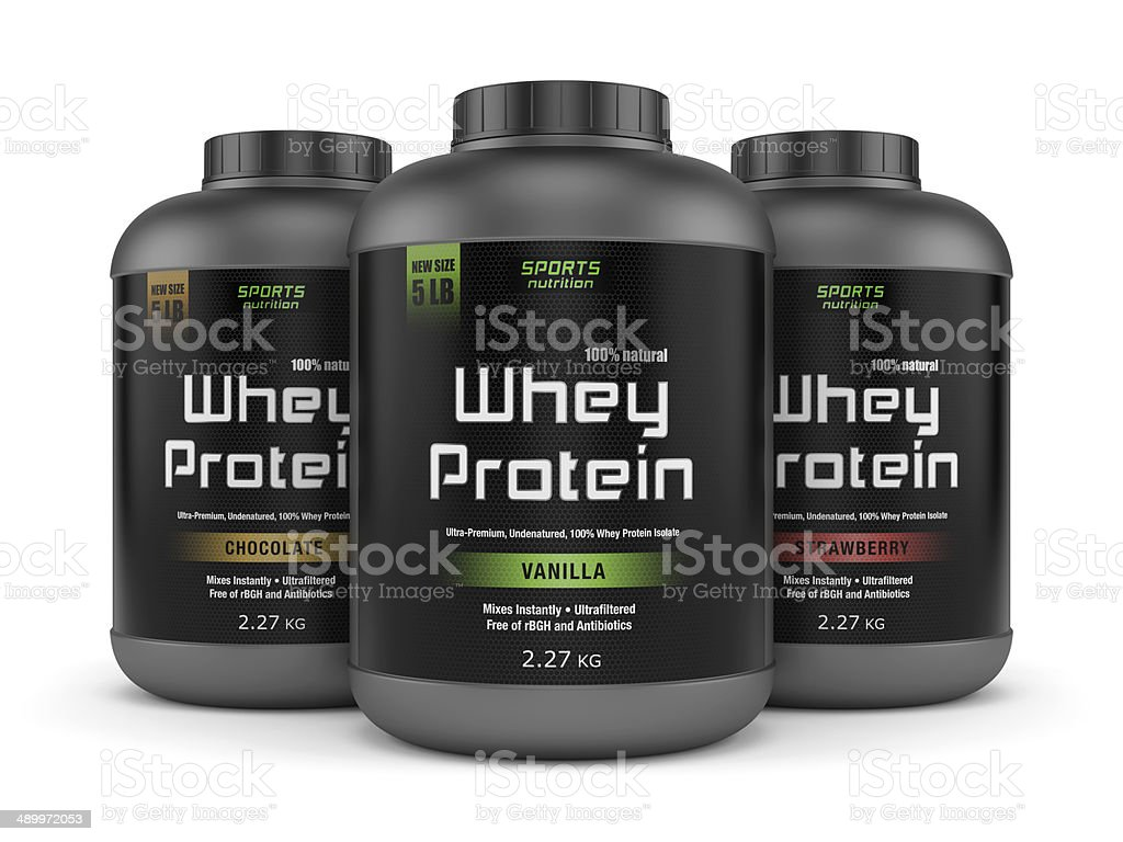 Three whey protein jars isolated on white stock photo
